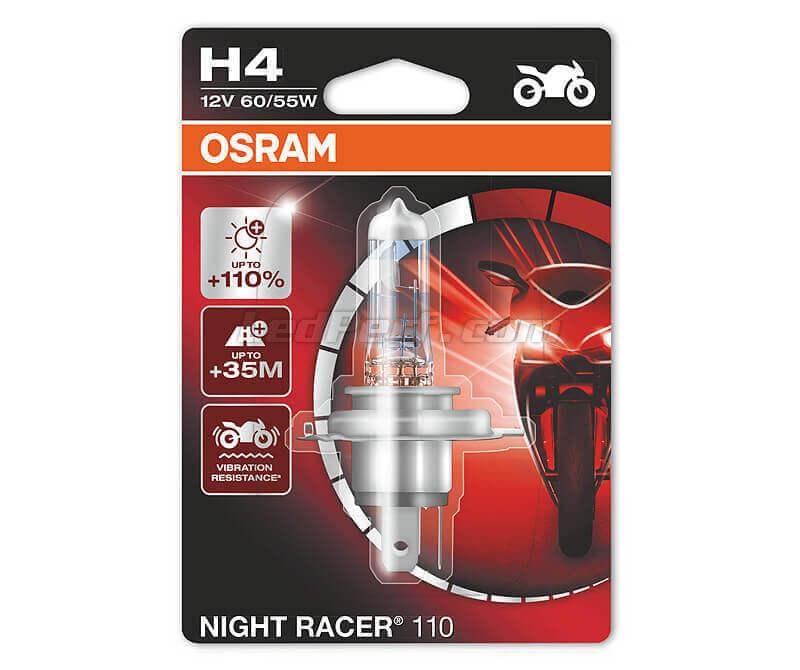 H4 Osram Night Racer 110 bulb for Moto - 64193NR1-01B