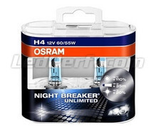 Pack of 2 Osram Night Breaker Unlimited H4 bulbs