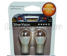 Pack of 2 Philips SilverVision chrome indicator bulbs - PY21W - BAU15S base